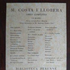 Coleccionismo: TARJETA CON LAS OBRAS COMPLETAS DEL POETA MALLORQUÍN MOSSEN. COSTA I LLOBERA BARCELONA AÑOS 30´S . Lote 194144911