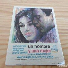 Coleccionismo: UN HOMBRE Y UNA MUJER, 1968. Lote 194149548