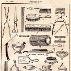 Coleccionismo: LÁMINA SALVAT - HERRAMIENTAS DE PELUQUERÍA. Lote 194202158