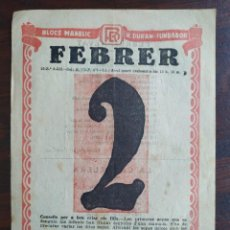 Coleccionismo: UNA HOJA DEL CALENDARIO EN CATALÁN DEL 2 FEBRER 1933 FESTIVITAT LA CANDLERA DE LA CASA BLOCS MANELIC. Lote 194224548