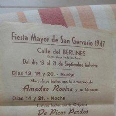 Coleccionismo: PROGRAMA FIESTA MAYOR SAN GERVASIO BARCELONA 1947.AMADEO ROVIRA ORQUESTA DE PICOS PARDOS. Lote 194224776