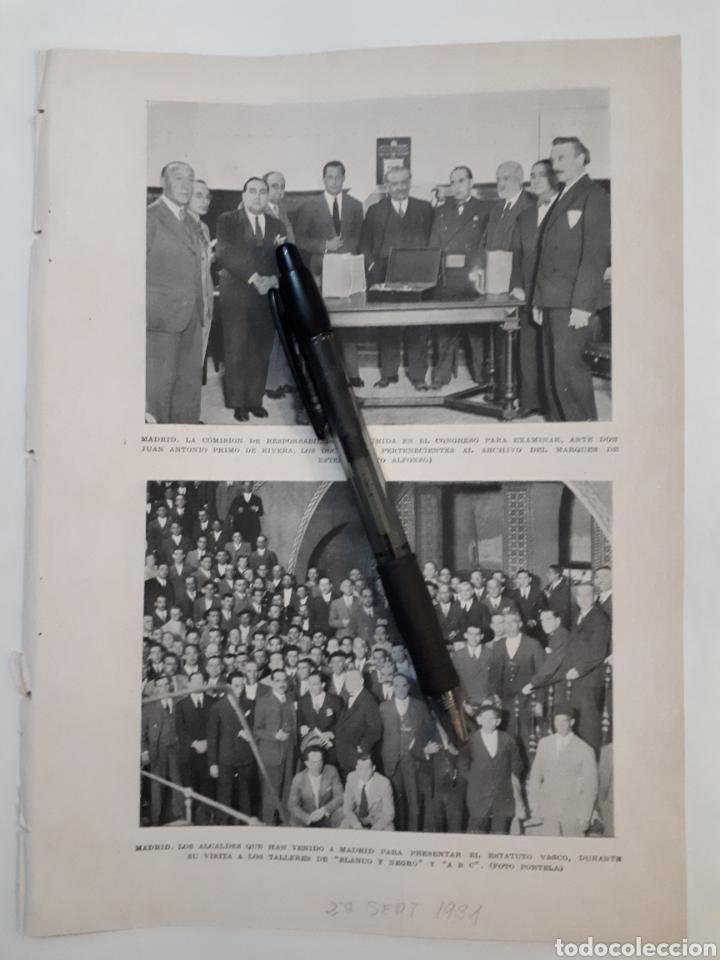 MADRID. COMISIÓN EN EL CONGRESO CON PRIMO DE RIVERA/ ALCALDES DEL ESTATUTO VASCO. 1931 (Coleccionismo - Laminas, Programas y Otros Documentos)