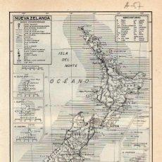 Coleccionismo: LÁMINA ESPASA A-87 .- MAPA DE NUEVA ZELANDA. Lote 194305943