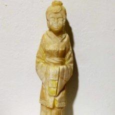 Coleccionismo: ANTIGUA FIGURA TALLADA EN MARMOL JAPONESA 35 CM 2.200 KG. Lote 194340838