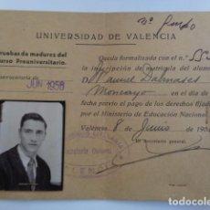 Coleccionismo: UNIVERSIDAD DE VALENCIA. UNIVERSIDAD LITERARIA. CURSO PREUNIVERSITARIO. 1956. CARNET. . Lote 194359076