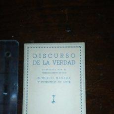 Coleccionismo: DISCURSO DE LA VERDAD D MIGUEL MAÑARA 1961. Lote 194382235