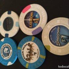 Coleccionismo: 5 FICHAS DIFERENTES CASINO LAS VEGAS (LOTE / COLECCIÓN)/ FICHA DINERARIA . Lote 194394428