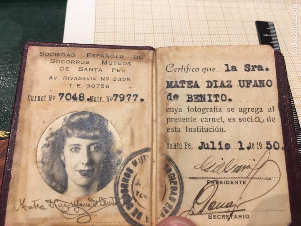 Coleccionismo: Carnet S. E. De Socorros Mutuos Santa Fe Republica Argentina - Foto 2 - 194399210