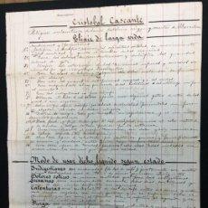 Coleccionismo: CURIOSISIMO DOCUMENTO ORIGINAL EN FOLIO MAYOR SOBRE ELIXIR DE LARGA VIDA DE C. CASCANTE. C.1850.. Lote 194513807