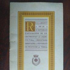 Coleccionismo: II EXPOSICIÓ D´APLICACIONS D´ECTRICITAT A L´AGRICULTURA I EXPOSICIÓ DE FRUITS DE LA TERRA REUS 1933. Lote 194514733