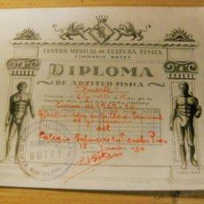 Coleccionismo: DIPLOMA DE APTITUD FISICA CENTRO MEDICAL DE CULTURA FISICA GIMNASIO BOTEY BARCELONA 1930 16/12 CM. Lote 194536031