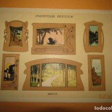 Coleccionismo: LÁMINA LITOGRAFIADA CARPINTERÍA ARTÍSTICA EN MADERA - MODERNISTA * MARCOS * AÑO 1905. Lote 194572132