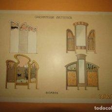 Coleccionismo: LÁMINA LITOGRAFIADA CARPINTERÍA ARTÍSTICA EN MADERA - MODERNISTA * BIOMBOS * AÑO 1905. Lote 194572206