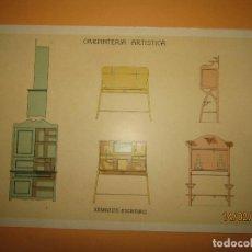 Coleccionismo: LÁMINA LITOGRAFIADA CARPINTERÍA ARTÍSTICA EN MADERA - MODERNISTA * ARMARIOS - ESCRITORIO * AÑO 1905. Lote 194572350