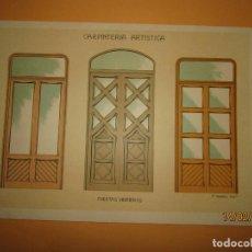 Coleccionismo: LÁMINA LITOGRAFIADA CARPINTERÍA ARTÍSTICA EN MADERA - MODERNISTA * PUERTAS VIDRIERAS * AÑO 1905. Lote 194572388