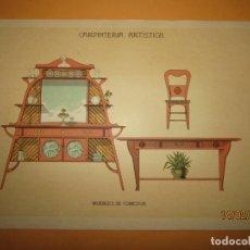 Coleccionismo: LÁMINA LITOGRAFIADA CARPINTERÍA ARTÍSTICA EN MADERA - MODERNISTA * MUEBLES DE COMEDOR * AÑO 1905. Lote 194572547