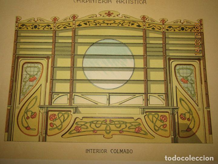 Coleccionismo: Lámina Litografiada Carpintería Artística en Madera - MODERNISTA * INTERIOR COLMADO * Año 1905 - Foto 2 - 194576973