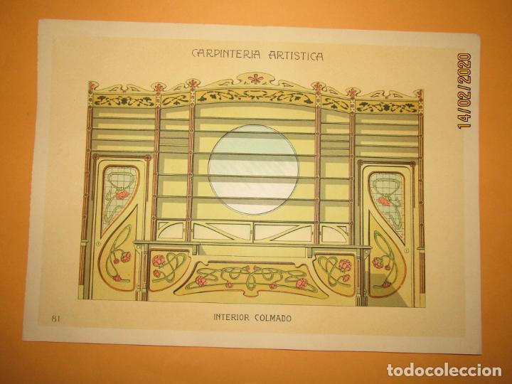 LÁMINA LITOGRAFIADA CARPINTERÍA ARTÍSTICA EN MADERA - MODERNISTA * INTERIOR COLMADO * AÑO 1905 (Coleccionismo - Laminas, Programas y Otros Documentos)