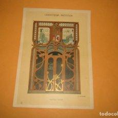 Coleccionismo: LÁMINA LITOGRAFIADA CARPINTERÍA ARTÍSTICA EN MADERA - MODERNISTA * FACHADA TIENDA * AÑO 1905. Lote 194577163