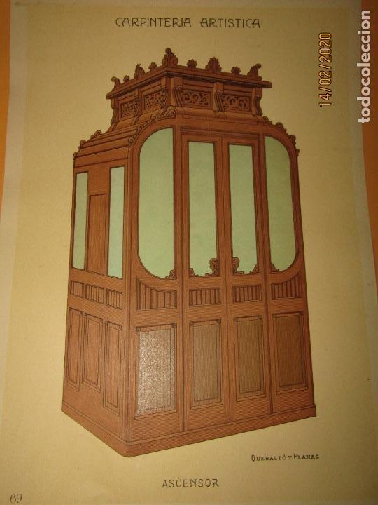 Coleccionismo: Lámina Litografiada Carpintería Artística en Madera - MODERNISTA * ASCENSOR * Año 1905 - Foto 2 - 194577431