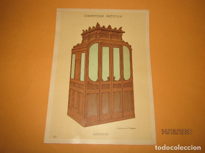 LÁMINA LITOGRAFIADA CARPINTERÍA ARTÍSTICA EN MADERA - MODERNISTA * ASCENSOR * AÑO 1905 (Coleccionismo - Laminas, Programas y Otros Documentos)