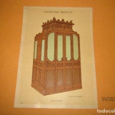 Coleccionismo: LÁMINA LITOGRAFIADA CARPINTERÍA ARTÍSTICA EN MADERA - MODERNISTA * ASCENSOR * AÑO 1905. Lote 194577431
