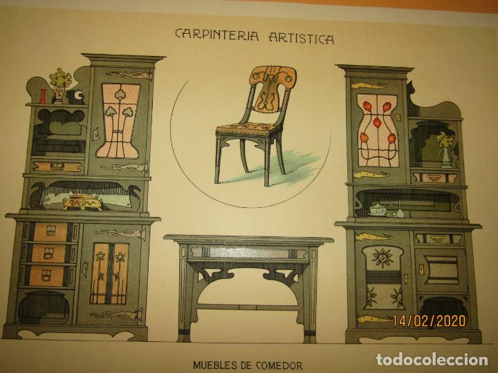 Coleccionismo: Lámina Litografiada Carpintería Artística en Madera - MODERNISTA * MUEBLES DE COMEDOR * Año 1905 - Foto 2 - 194577618