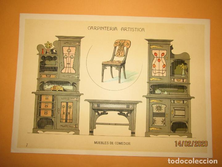 LÁMINA LITOGRAFIADA CARPINTERÍA ARTÍSTICA EN MADERA - MODERNISTA * MUEBLES DE COMEDOR * AÑO 1905 (Coleccionismo - Laminas, Programas y Otros Documentos)