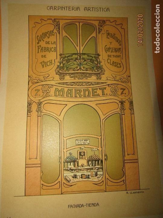 Coleccionismo: Lámina Litografiada Carpintería Artística en Madera - MODERNISTA * FACHADA TIENDA * Año 1905 - Foto 2 - 194578156