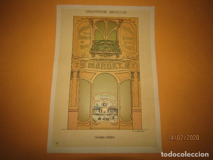 LÁMINA LITOGRAFIADA CARPINTERÍA ARTÍSTICA EN MADERA - MODERNISTA * FACHADA TIENDA * AÑO 1905 (Coleccionismo - Laminas, Programas y Otros Documentos)