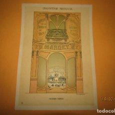 Coleccionismo: LÁMINA LITOGRAFIADA CARPINTERÍA ARTÍSTICA EN MADERA - MODERNISTA * FACHADA TIENDA * AÑO 1905. Lote 194578156