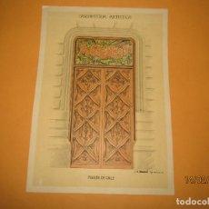 Coleccionismo: LÁMINA LITOGRAFIADA CARPINTERÍA ARTÍSTICA EN MADERA - MODERNISTA * PUERTA DE CALLE * AÑO 1905. Lote 194578355