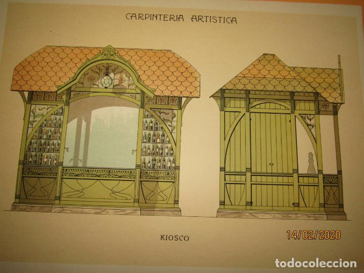 Coleccionismo: Lámina Litografiada Carpintería Artística en Madera - MODERNISTA * KIOSCO * Año 1905 - Foto 2 - 194578491