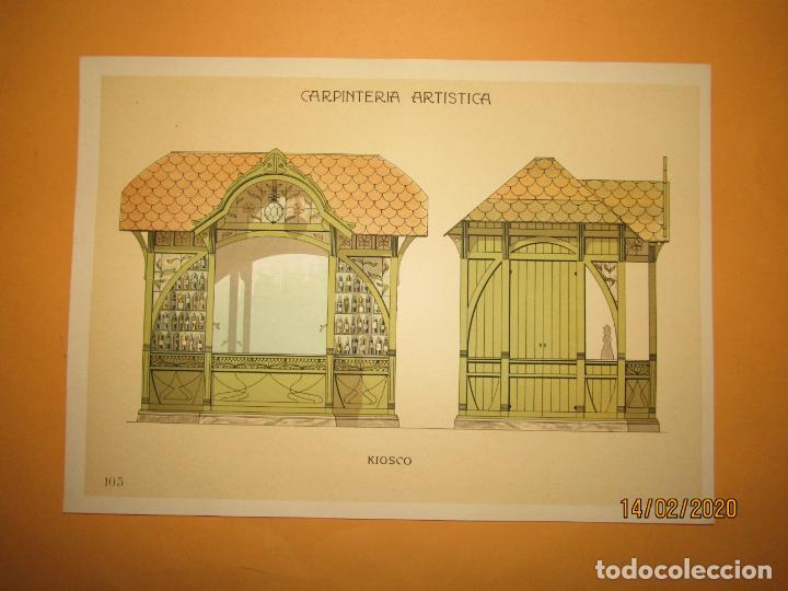 LÁMINA LITOGRAFIADA CARPINTERÍA ARTÍSTICA EN MADERA - MODERNISTA * KIOSCO * AÑO 1905 (Coleccionismo - Laminas, Programas y Otros Documentos)