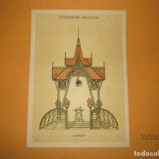 Coleccionismo: LÁMINA LITOGRAFIADA CARPINTERÍA ARTÍSTICA EN MADERA - MODERNISTA * GLORIETA * AÑO 1905. Lote 194578838