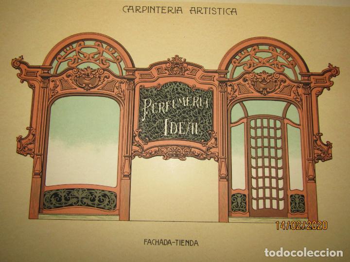 Coleccionismo: Lámina Litografiada Carpintería Artística en Madera - MODERNISTA * FACHADA TIENDA * Año 1905 - Foto 2 - 194578992