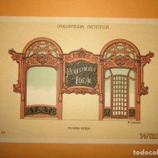 Coleccionismo: LÁMINA LITOGRAFIADA CARPINTERÍA ARTÍSTICA EN MADERA - MODERNISTA * FACHADA TIENDA * AÑO 1905. Lote 194578992