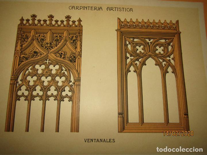 Coleccionismo: Lámina Litografiada Carpintería Artística en Madera - MODERNISTA * VENTANALES * Año 1905 - Foto 2 - 194579041