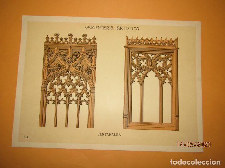 Coleccionismo: Lámina Litografiada Carpintería Artística en Madera - MODERNISTA * VENTANALES * Año 1905 - Foto 3 - 194579041