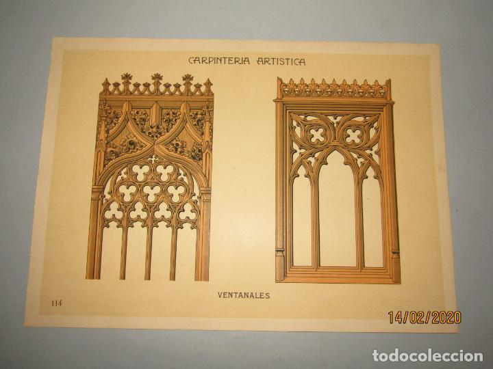 Coleccionismo: Lámina Litografiada Carpintería Artística en Madera - MODERNISTA * VENTANALES * Año 1905 - Foto 4 - 194579041