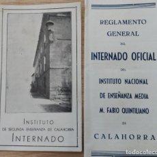 Coleccionismo: 2 FOLLETOS INSTITUTO ENSEÑANZA FABIO QUINTILIANO DE CALAHORRA. LOGROÑO. RIOJA. 1933/ 1944.. Lote 194608902