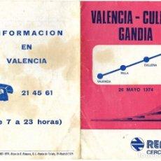 Coleccionismo: DÍPTICO RENFE HORARIOS CERCANÍAS ENTRE VALENCIA, CULLERA Y GANDÍA - FECHADO 26 MAYO 1974. Lote 194619345