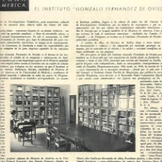 Coleccionismo: AÑO 1948 RECORTE PRENSA EL INSTITUTO GONZALO FERNANDEZ DE OVIEDO. Lote 194639013