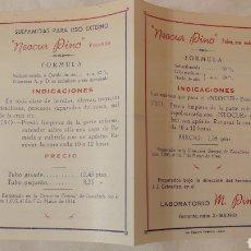 Coleccionismo: DÍPTICO LABORATORIOS M. PINO, 1944. Lote 194642146