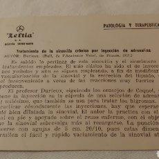 Coleccionismo: PEQUEÑA FICHA TRATAMIENTO DE LA SINOVITIS CRÓNICA POR INYECCIÓN DE ADRENALINA 1957. Lote 194642545