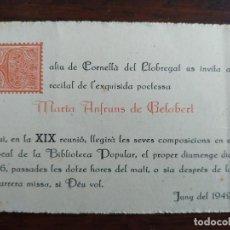 Coleccionismo: XIX RECITAL DE POESIES DE L'EXQUISIDA POETESSA MARIA ANFRUNS DE GELABERT 1949 CORNELLA DE LLOBREGAT. Lote 194665016