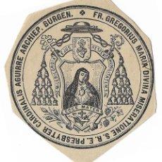 Coleccionismo: ANTIGUO SELLO TINTA SOBRE PAPEL - SELLO DEL ARZOBISPO DE BURGOS GREGORIO AGUIRRE - BURGEN. Lote 194729448