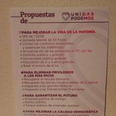 Coleccionismo: FOLLETO ORIGINAL - PROPUESTAS - PODEMOS - POLITICA - UNIDAS. Lote 194744007