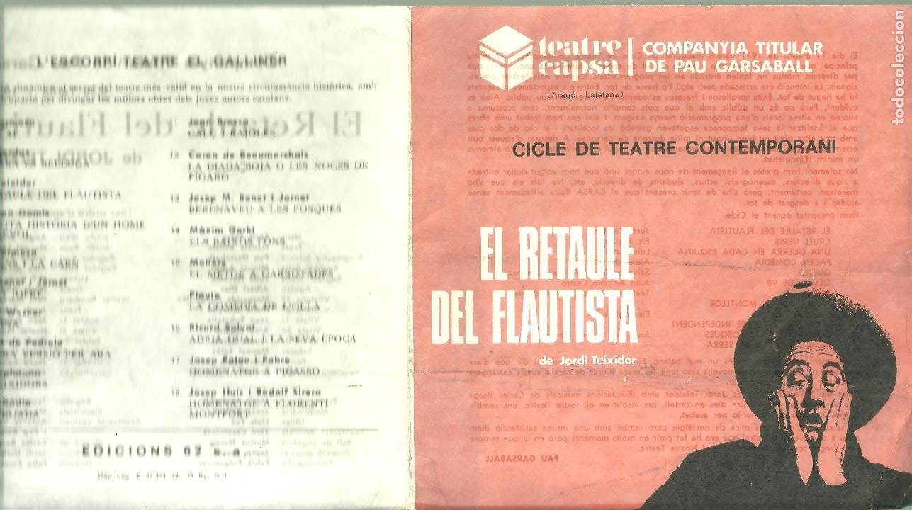 3922.- EL RETAULE DEL FLAUTISTA CICLE DE TEATRE CONTEMPORANI - TEATRE CAPSA (Coleccionismo - Laminas, Programas y Otros Documentos)