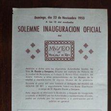 Coleccionismo: SOLEMNE INAUGURACIÓN OFICIAL DEL MUSEO DE MOLINS DE REI NOVIEMBRE 1953. Lote 194859072